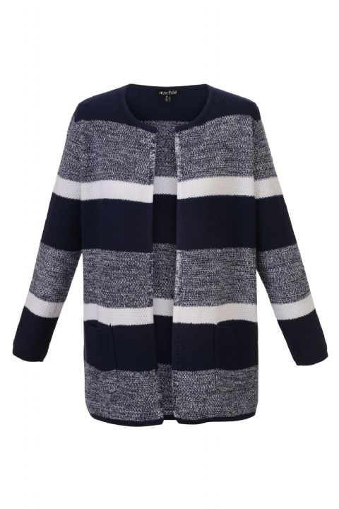 MARBLE Navy and White Cardigan 50% Cotton